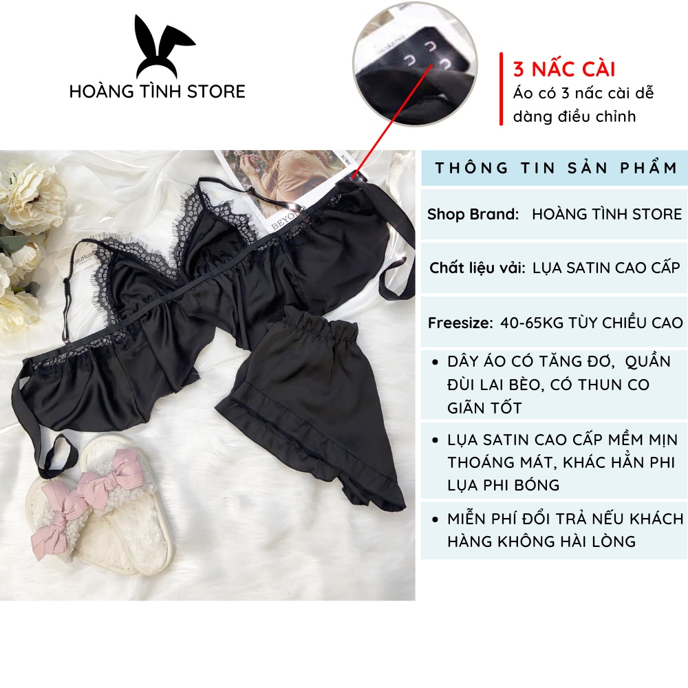 Mặc gì đẹp: Thoải mái với Đồ ngủ sexy đồ ngủ 2 dây phối ren ngực Hoàng Tình Store, chất liệu lụa satin mềm mịn, freesize 40-65kg tùy chiều cao