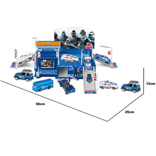 Đồ chơi xây dựng Trạm đỗ xe cảnh sát tích hợp Six-six-zero-A76