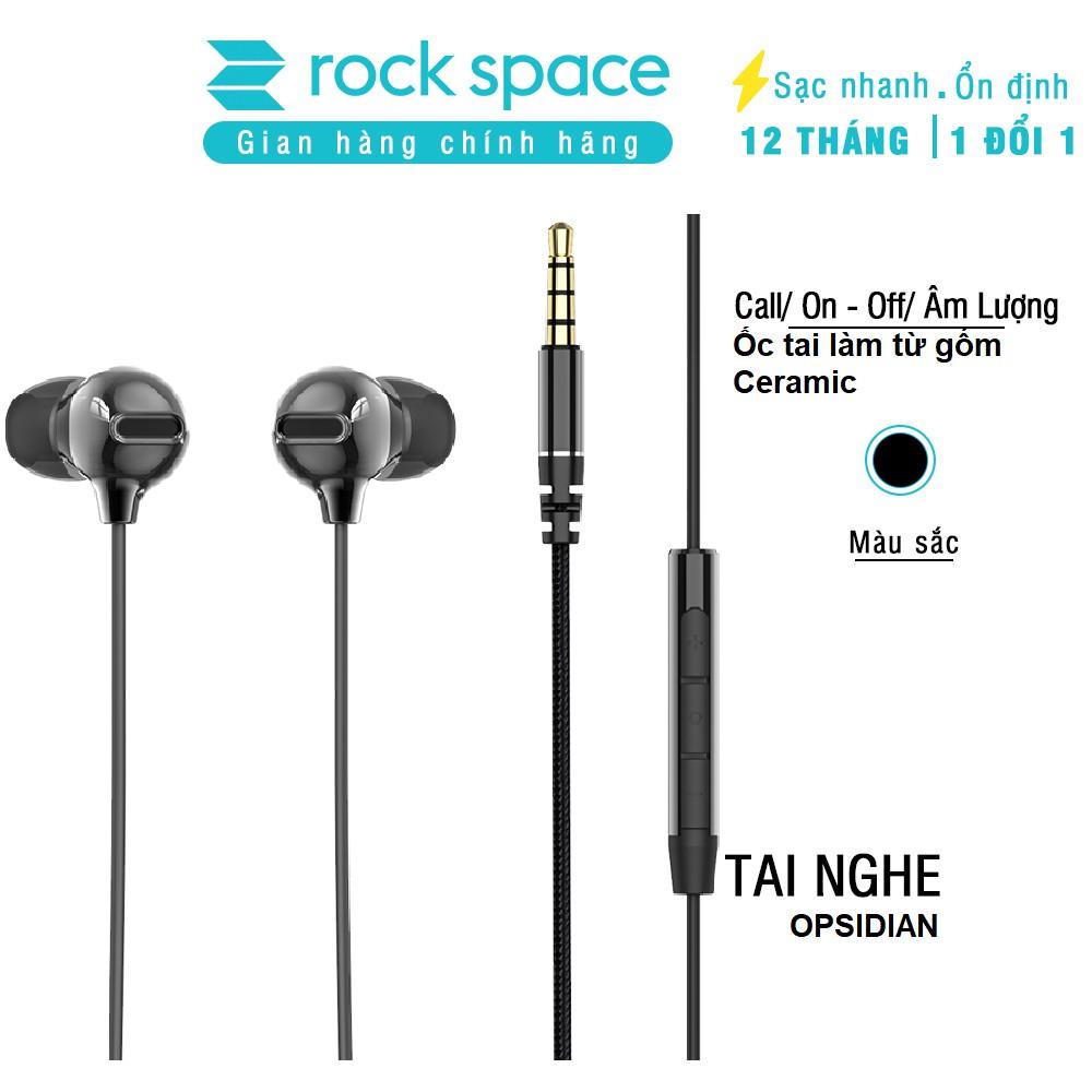 Tai nghe có dây, nhét tai, có mic Rockspace Obsidian, nghe nhạc, chơi game, chính hãng, bảo hành 1 năm