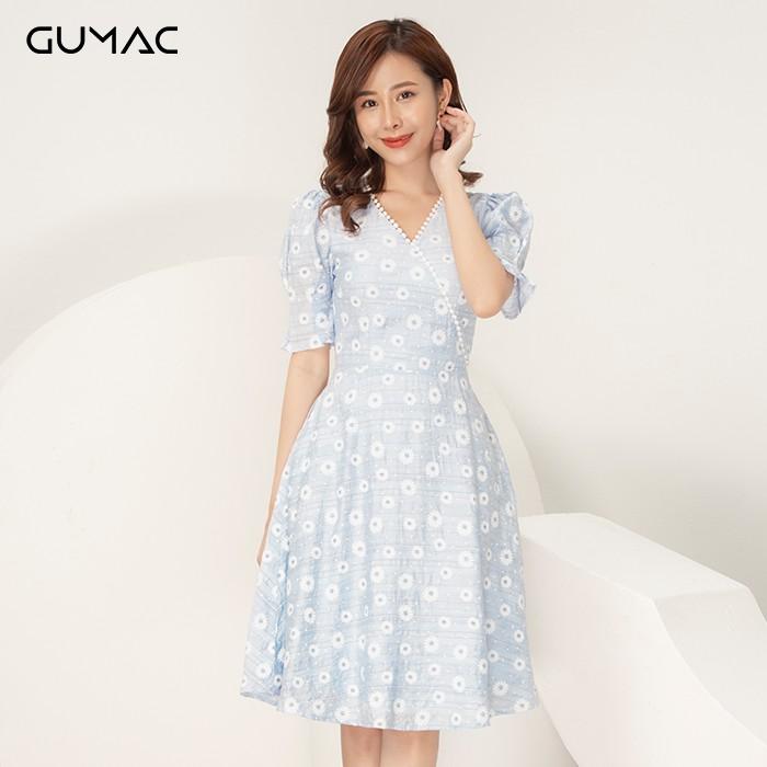 Đầm cổ V đăng ten GUMAC DA9104