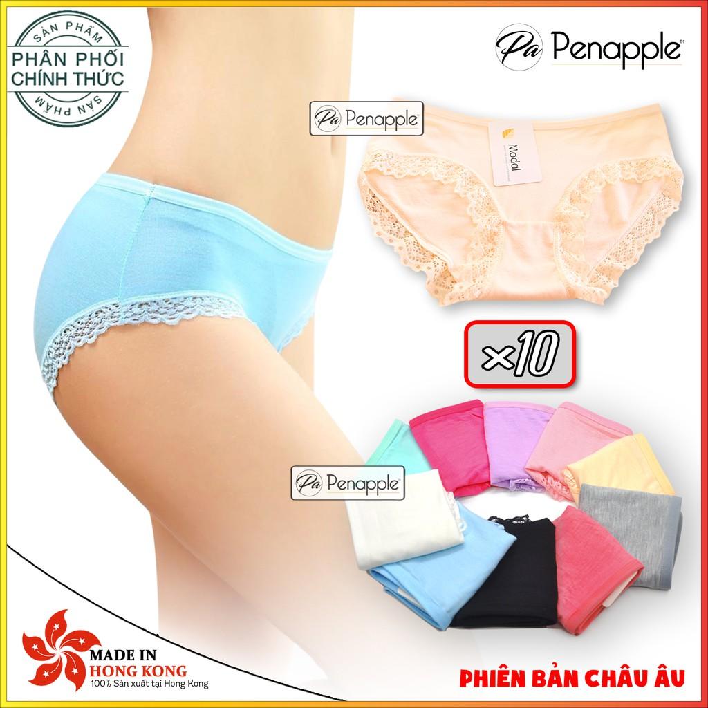 [ PENA0707 GIẢM 10%] Combo 10 quần lót nữ cotton viền ren cao cấp thấm hút mát mịn
