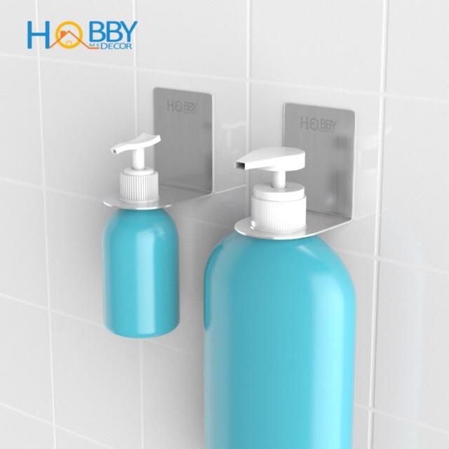 Bộ 2 móc treo cổ chai nước rửa tay, dầu gội Inox 304 dán gạch men - kèm keo dán siêu dính - bộ 2 kích thước - HOBBY MTDG