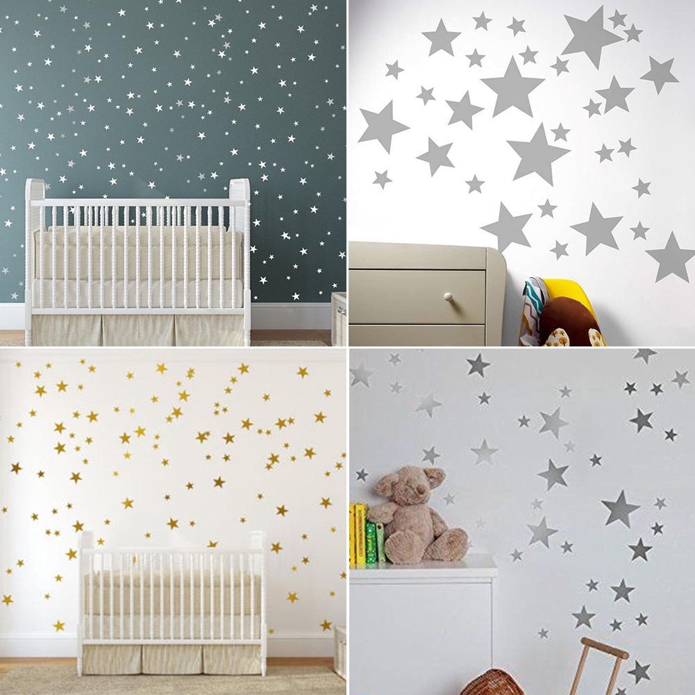 55pcs/set Easy Paste Decorations Accessories PVC Star Pattern Various Size Nursery Bedroom Art Wall Sticker