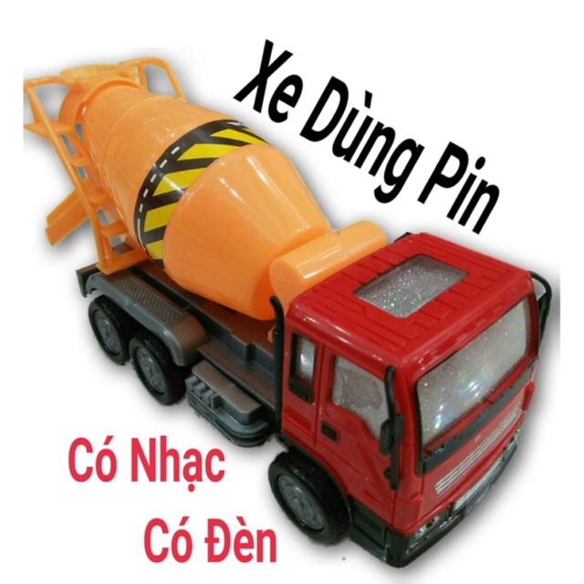 Đồ Chơi Mô Hình Xe Trộn Bê Tông Đèn Nhạc Pin 3D(Hàng Việt Nam)