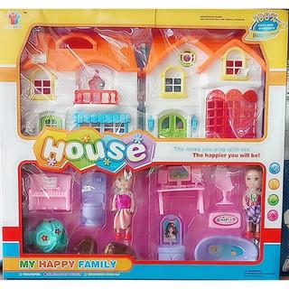 Bộ đồ chơi ngôi nhà + búp bê + phụ kiện