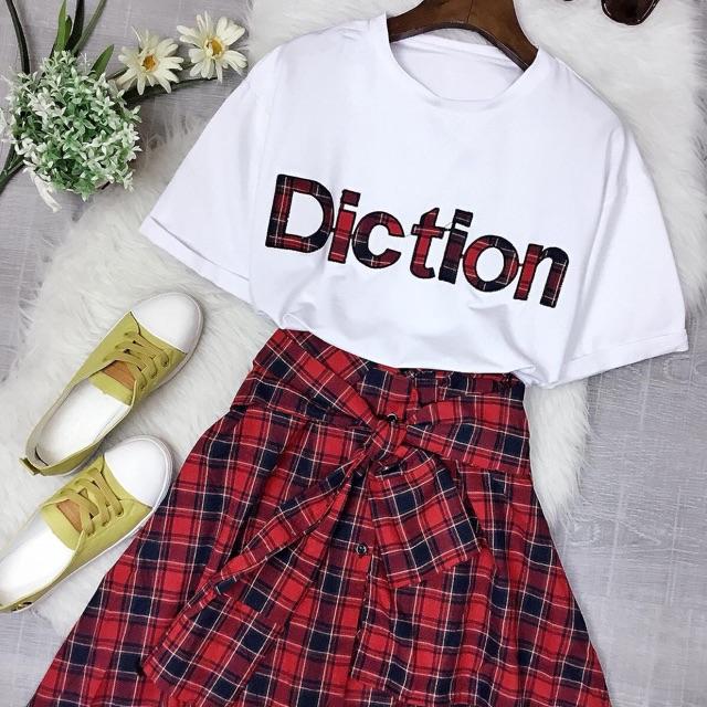 1048121703 - Set áo thun cotton in chữ và chân váy caro giả sơmi