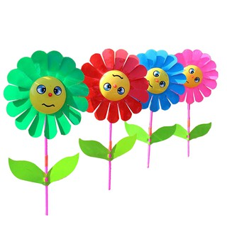 Smile Sunflower Windmill Wind Spinner Wood Handle Kids Toy Lawn Garden Yard Party Decor Outdoor Gift