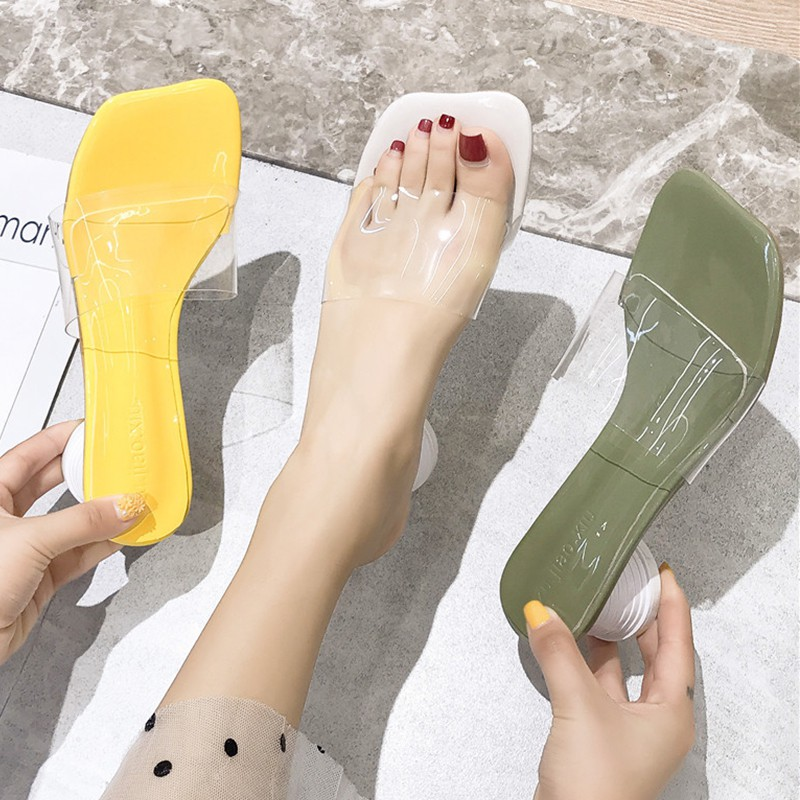 Net red transparent slippers women wear 2019 summer new fashion in thick with ap