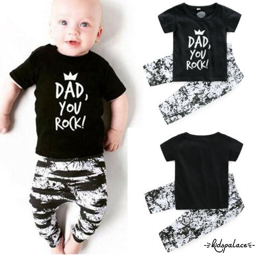 ☛JU-2019 Newborn Infant Baby Boys Outfits T-shirt Tops + Trousers Pants Outfits Set Clothes