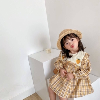 Korean Pretty Korean Style Plaid Cotton Princess Dress For Girls