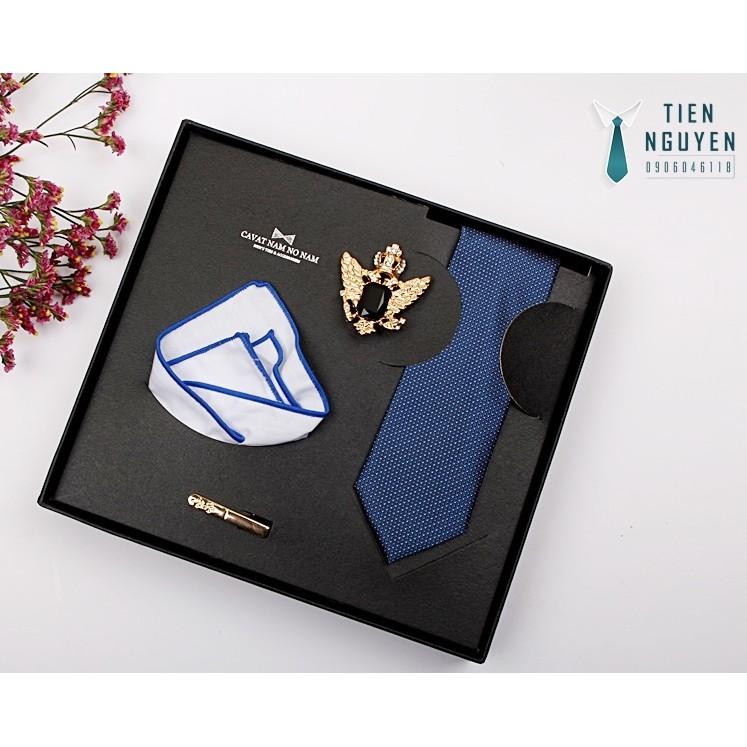 Bộ cà vạt nam cao cấp full box – xanh08