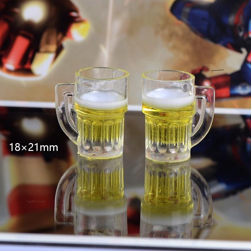 Cốc bia nâu, bia vàng phụ kiện trang trí charm slime