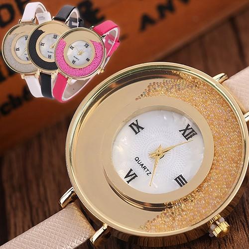 Đồng hồ dây da trang trí hạt cát độc đáo cho nữ