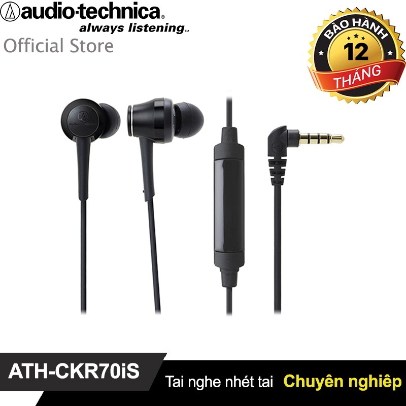 Tai nghe Audio Technica nhét tai chuyên nghiệp có mic ATH-CKR70iS