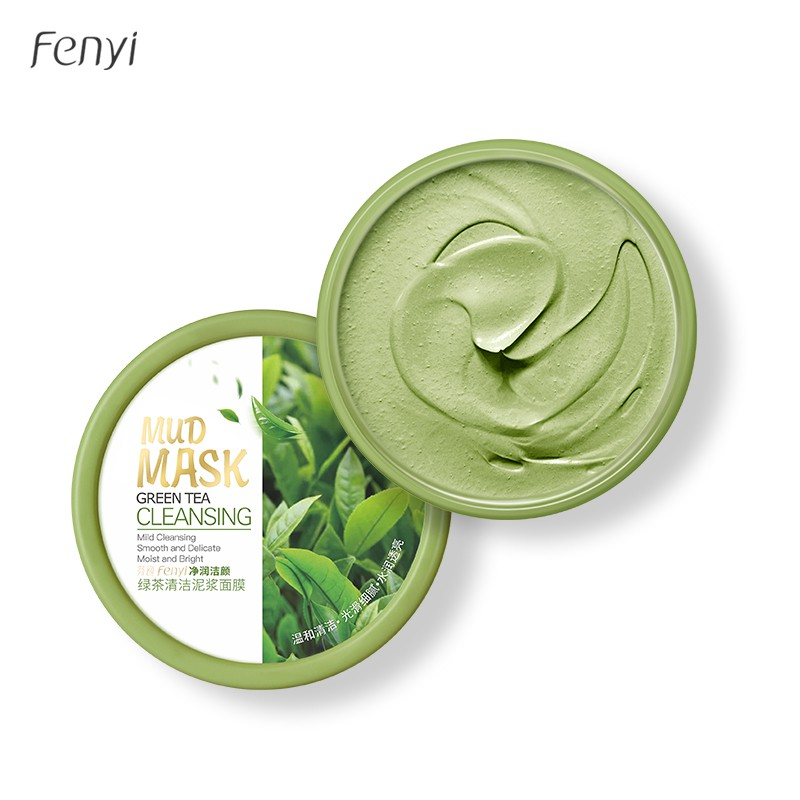 Fenyi Green Tea Face Mud Mask Reduce Acne Pores Blackheads Cleansing Oil Control 100g