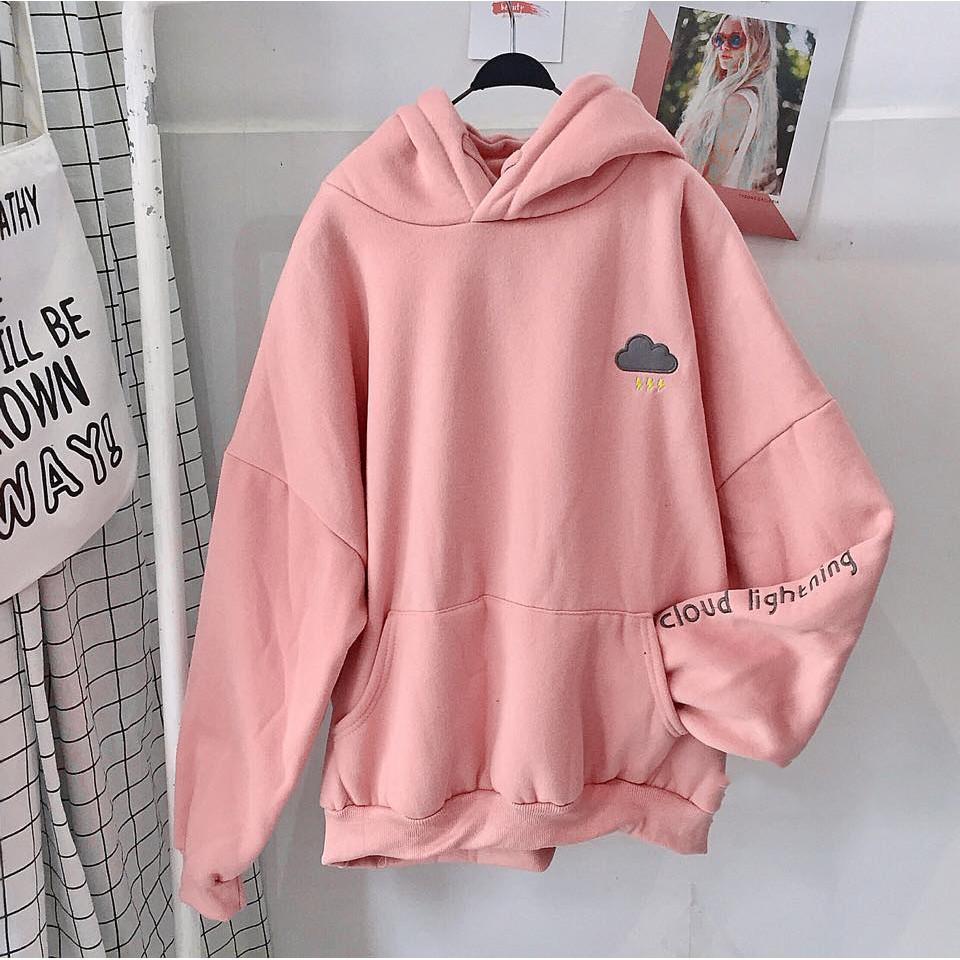Áo hoodie vải nỉ lót bông dày dặn thêu đám mây hồng