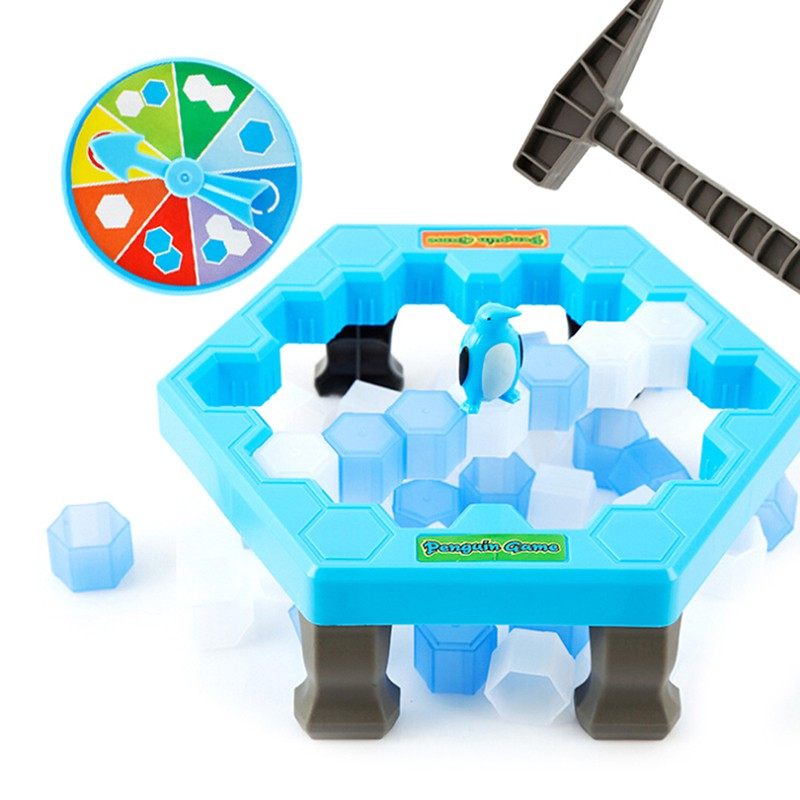 SUN55❤❤1Set penguin ice kids puzzle game break ice block hammer trap party toy