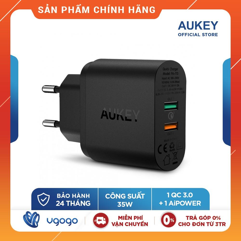 Cốc Sạc Aukey PA-T13 1 Cổng Sạc Nhanh Quick Charge 3.0 + 1 Cổng AiPower Thông Minh - Nhà Phân Phối Chính Thức