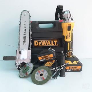 Máy mài dùng pin Dewalt 168V Động cơ Không Chổi Than TẶNG Bộ lưỡi cưa xích, Đá mài, Đá cắt