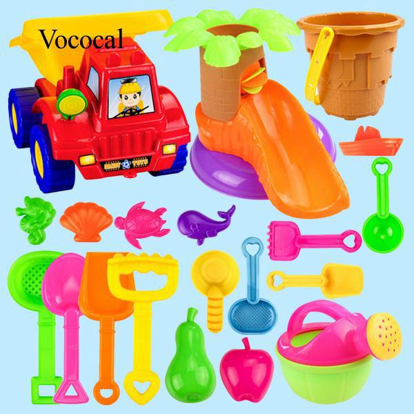 20x Kids Beach Sand Game Toys Set Shovels Rake Hourglass Bucket Kids Role Play