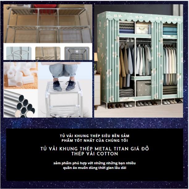 Tủ vải Đựng Quần Áo khung thép 4 buồng cỡ lớn titan tủ vải Metal cỡ lớn đựng quần áo