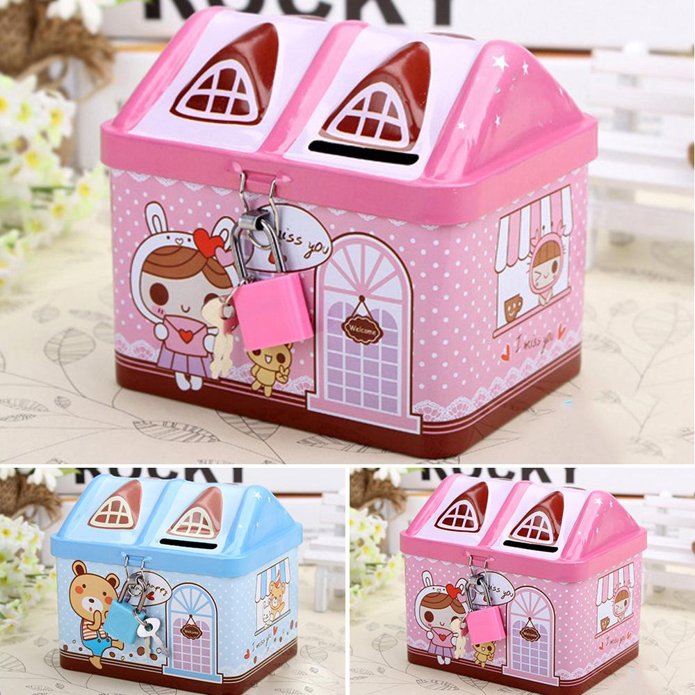 BLM❤Creative Cartoon Small Tin House Cute Piggy Bank Money Box Saving Bank Kids Gift