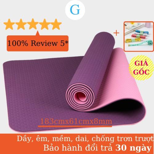 Thảm Tập Yoga chống trượt 2 lớp dày 8mm chất liệu cao su non TPE cao cấp tấm thảm tập gym thể dục tại nhà GYGA