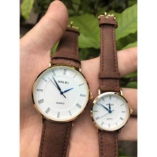 [Mã FASHIONRNK giảm 10K đơn 50K] [Giá 1 Cặp] Cặp Đồng hồ đôi Halei máy Nhật dây da cao cấp chống nước, chống xước. thumbnail