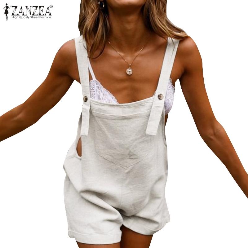 ZANZEA Áo liền quần bằng cotton dáng rộng không tay cho nữ