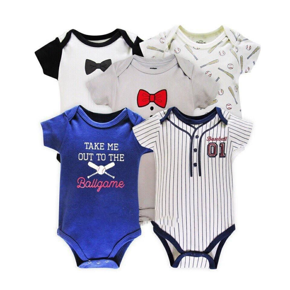 Set 5 bộ body xuất Mỹ cho bé trai/gái có móc áo(mẫu ngẫu nhiên)