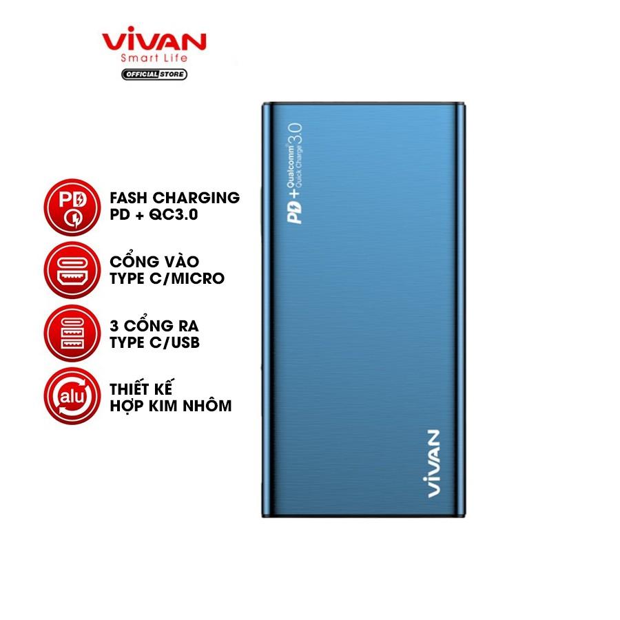 Pin Sạc Dự Phòng 10000mAh VIVAN VPB-F10S 18W Sạc Nhanh Chuẩn PD/QC 3.0 - 2 Input 3 Output - BẢO HÀNH 12 THÁNG 1 ĐỔI 1