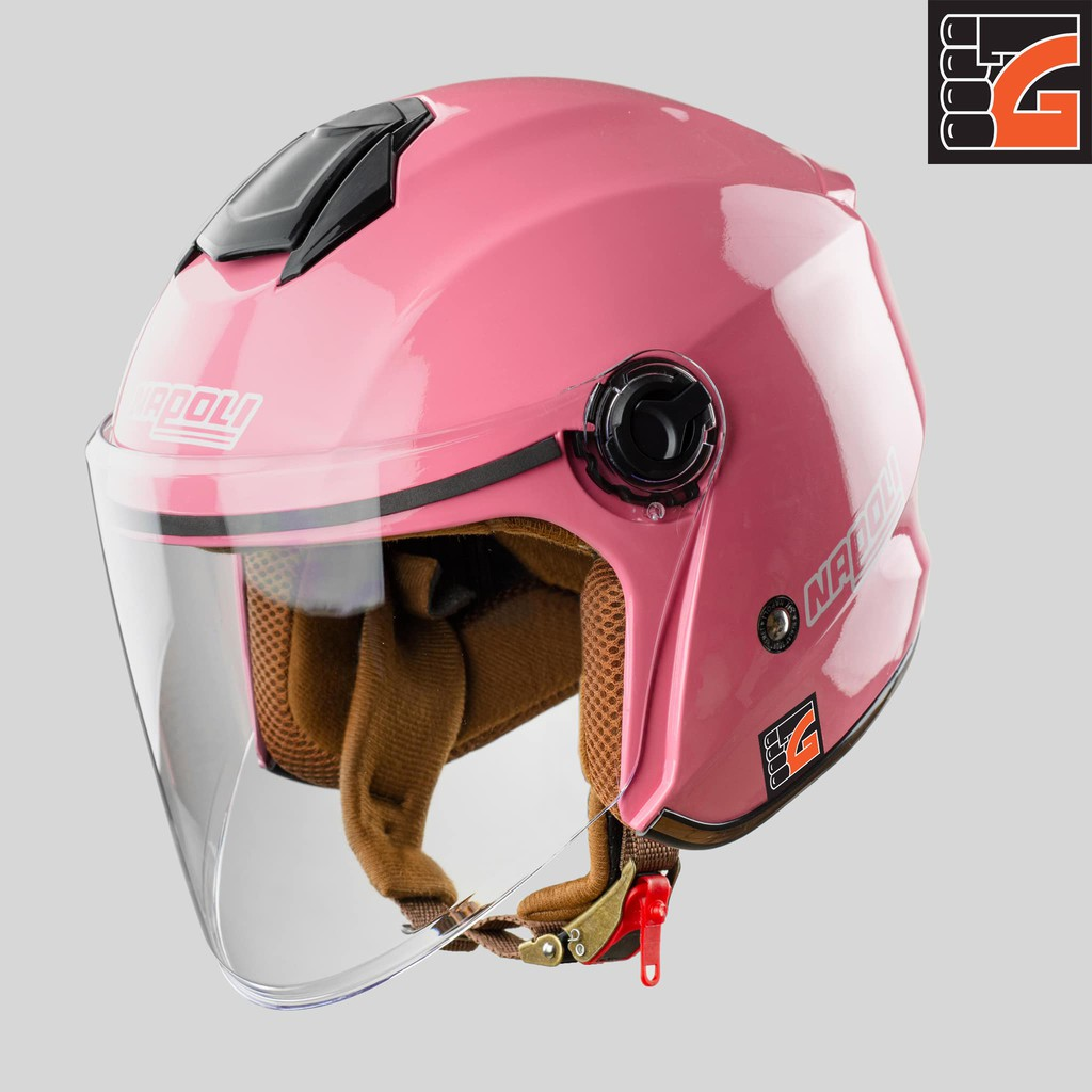 ✅[GLOVESZONE] Mũ bảo hiểm 3/4 kính NAPOLI X3 hồng bóng - Hàng Chính hãng