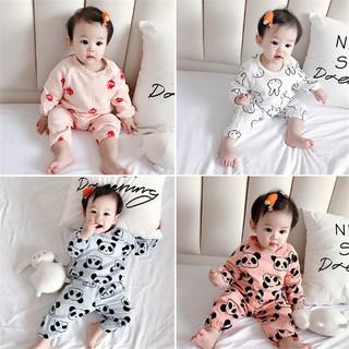 bộ body cho bé Bộ đồ ngủ chất liệu bằng cotton tay dài dễ thương dành cho bé