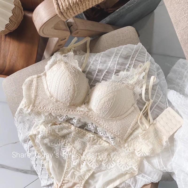 Bộ đồ lót ren nữ sexy, không gọng, đệm dày cao cấp < SANG TRỌNG, CHẤT LƯỢNG> Ren mềm, Đệm Hơi ,Nâng Ngực