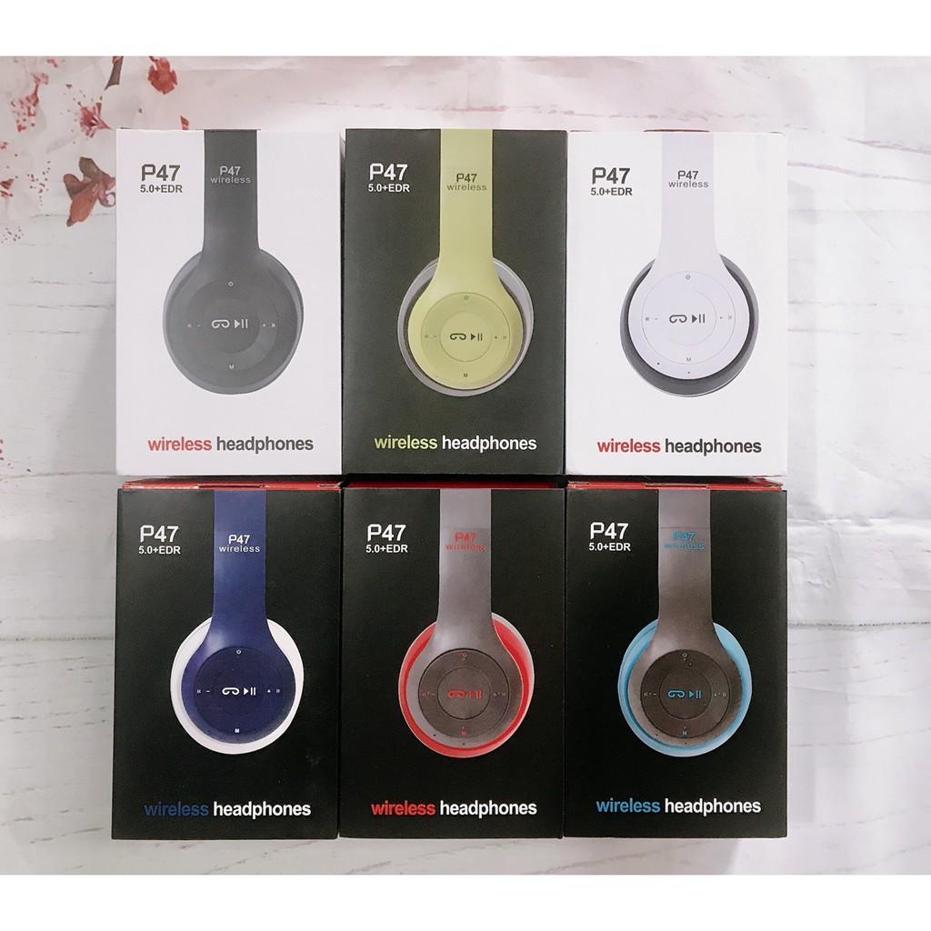 Tai nghe bluetooth chụp tai p47 - HEADPHONE P47 không dây, giá siêu rẻ có thẻ nhớ Bass mạnh Lala17