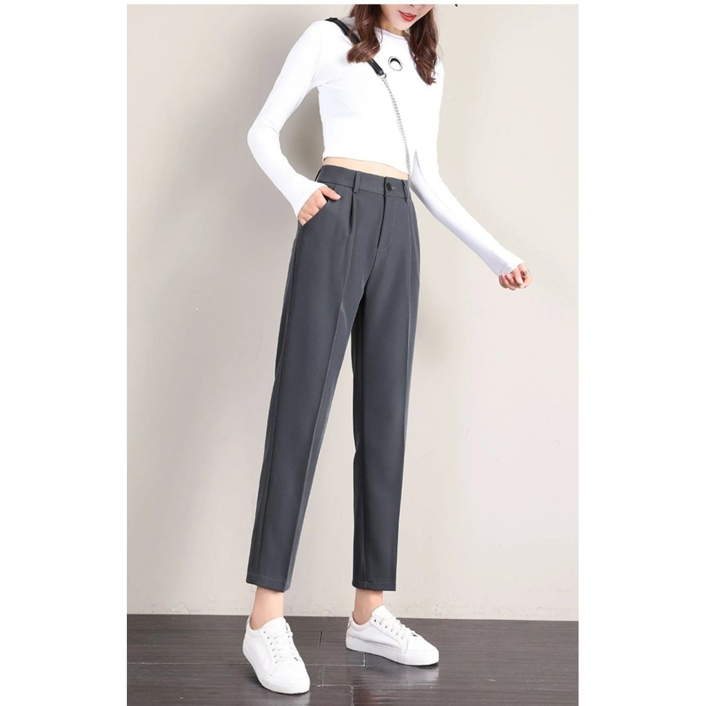 Mặc gì đẹp: Sang trọng với [FREE SHIP] Quần vải nữ công sở dáng baggy ống đứng vừa kiểu mới- Quần tây nữ lưng cao đi học tuyết mưa màu đen trơn mềm