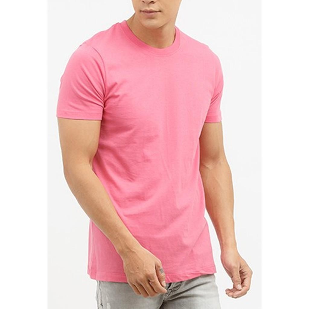 Áo thun nam cổ tròn hồng sen trơn Size S,M,L form đẹp vải mịn _VNXK _Cao cấp