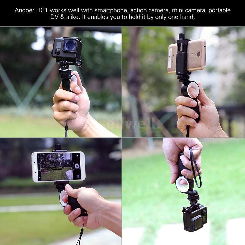 Andoer HC1 Smartphone Action Camera Hand Grip Handle Stabilizer Phone Tripod Mou