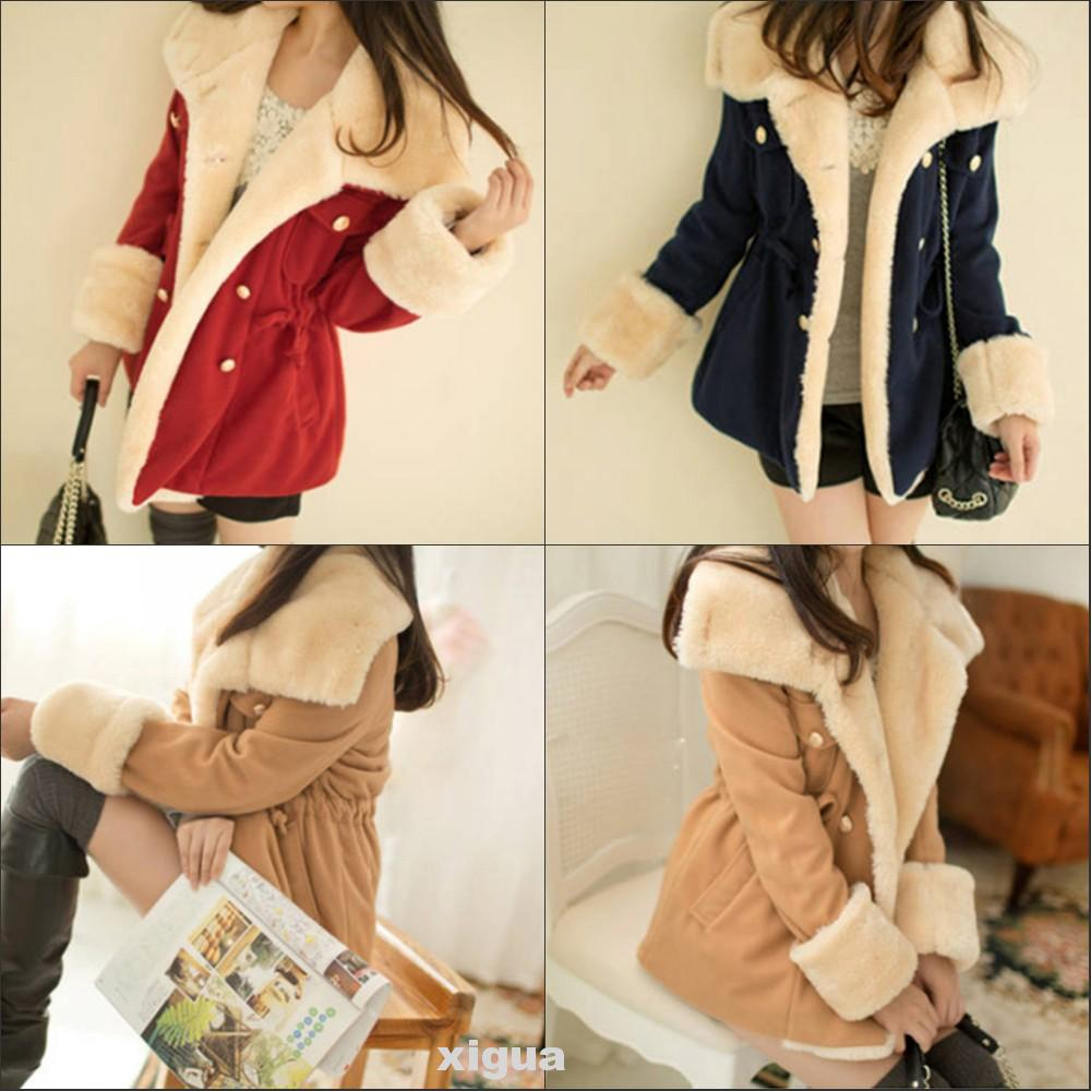 College Style Double Breasted Cotton Blend Slim Fit Lapel Long Sleeve Thicken Women Coat