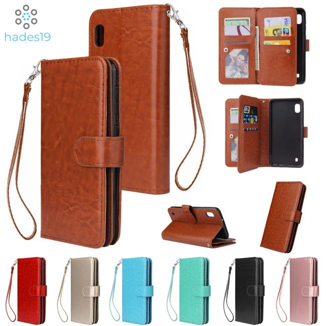 For Samsung A10 Leather Protective Phone Case with 9 Card Position Buckle Bracket Lanyard