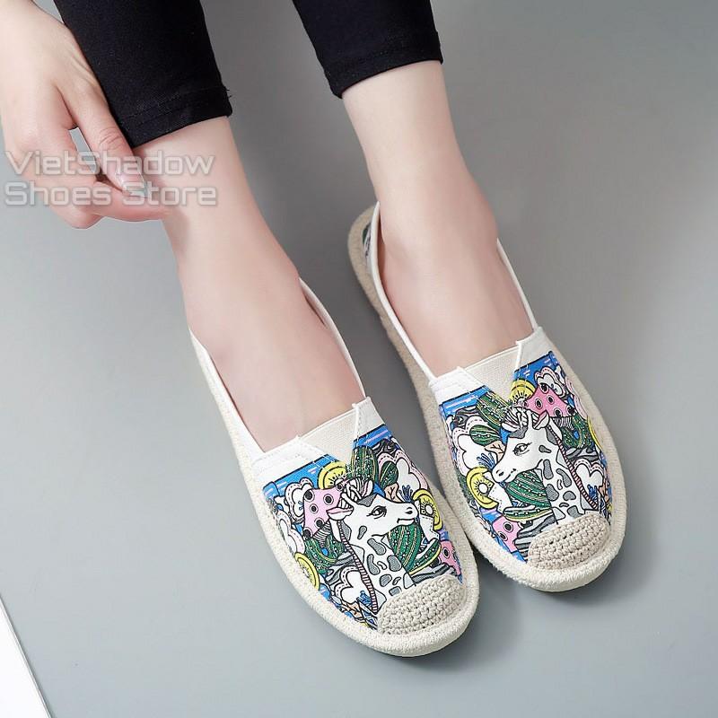 Slip on cói nữ - Giày lười vải nữ họa tiết - Chất liệu vải bố cotton thoáng mát - Mã SP B18/B19