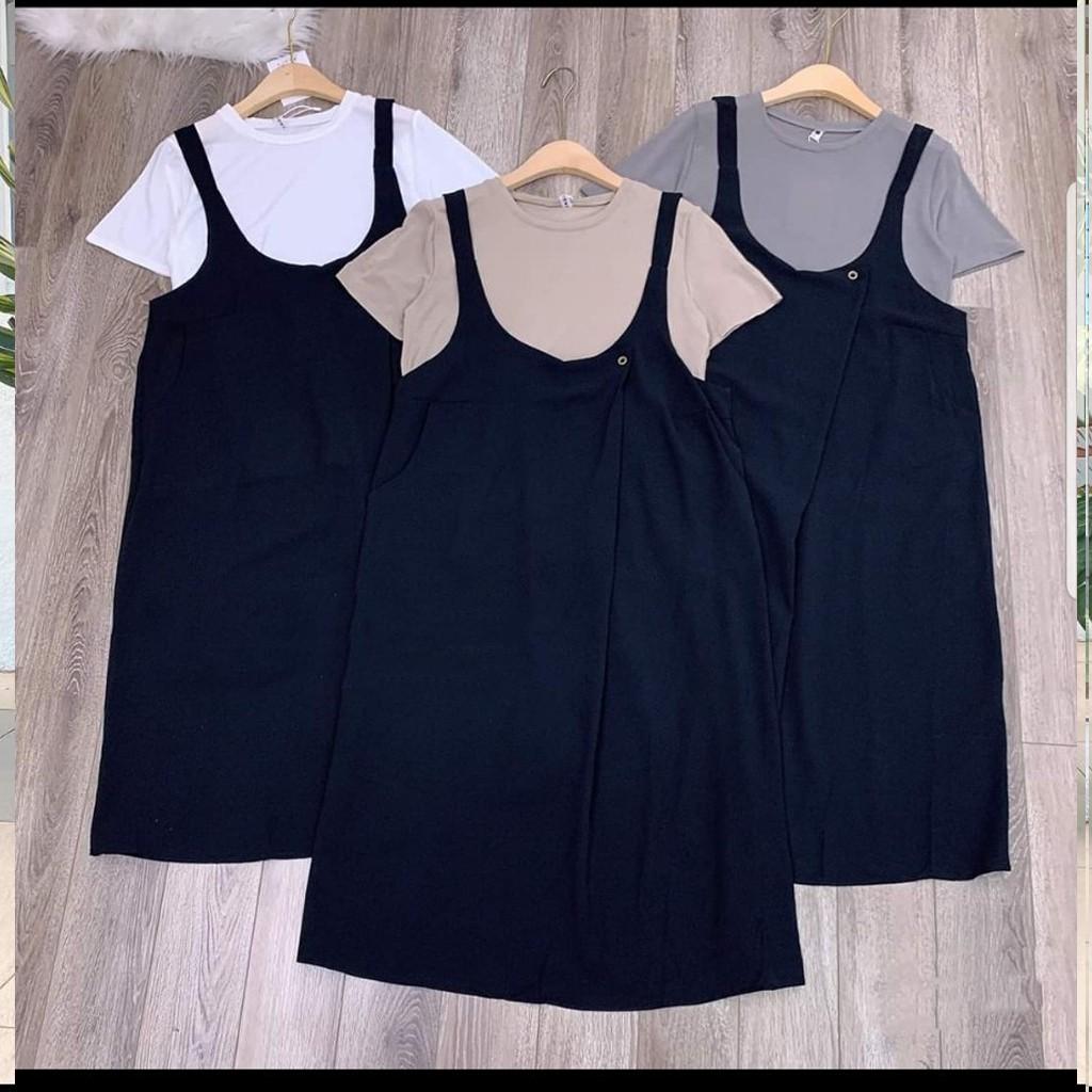 Mặc gì đẹp: Dễ chịu với Váy bầu thời trang thiết kế kiểu yếm bầu kèm áo phông M131 chất đũi hàn freesize từ 45 đến 70kg