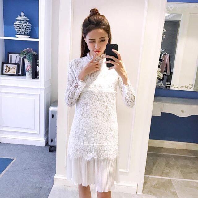 [sẵn sz M L] váy ren trắng cho con bú, dáng