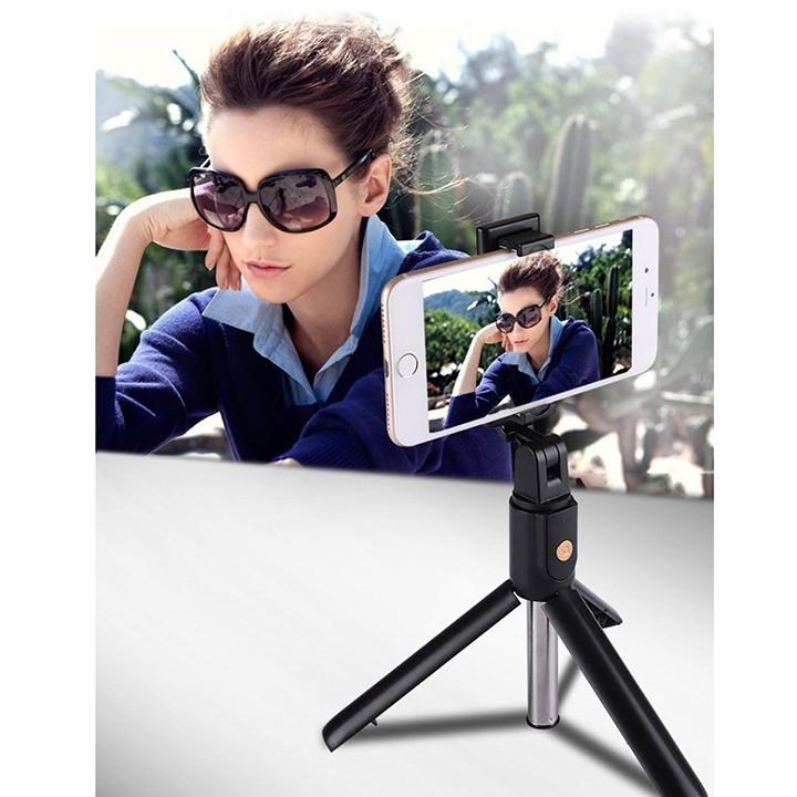 Gậy Chụp Ảnh K07 Bluetooth Selfie kèm Điều Khiển từ xa remote, Gậy tự sướng 3 chân đa năng