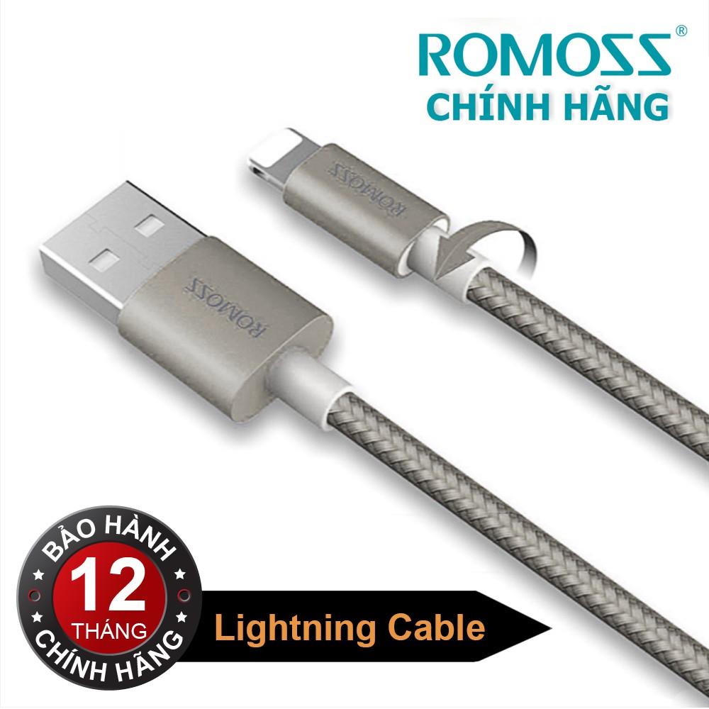 Cáp sạc iPhone/iPad Romoss Lightning Cable bọc Nylon (Xám 1M) - Hãng phân phối chính thức
