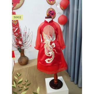 Áo dài đỏ bé gái Hanbok Tết