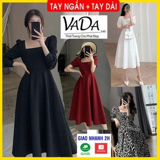 Đầm Xòe Dự Tiệc, Cổ Vuông 2021 hàng đẹp cao cấp tại xưởng may Thời Trang VADA - Đ999 thumbnail