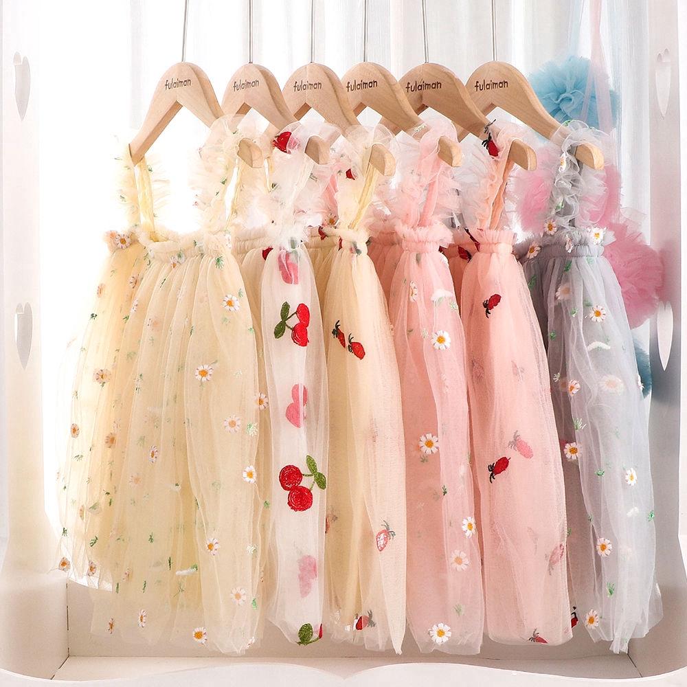 Đầm xòe công chúa vải lưới thêu hoa cúc thời trang 2020 cho bé gái