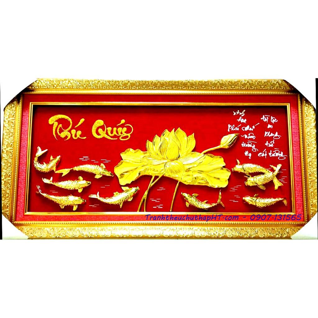 Tranh Phú Quý hoa sen cá vàng 01