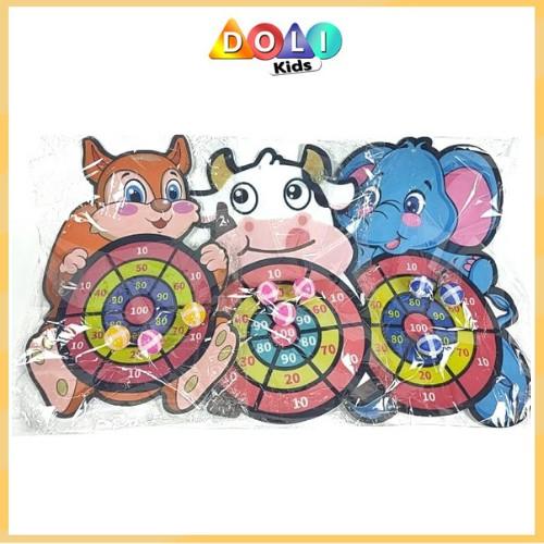 Bảng phi tiêu bóng dính cho bé, bảng ném bóng gai tính điểm hình con vật ngộ nghĩnh tặng kèm 3 trái bóng